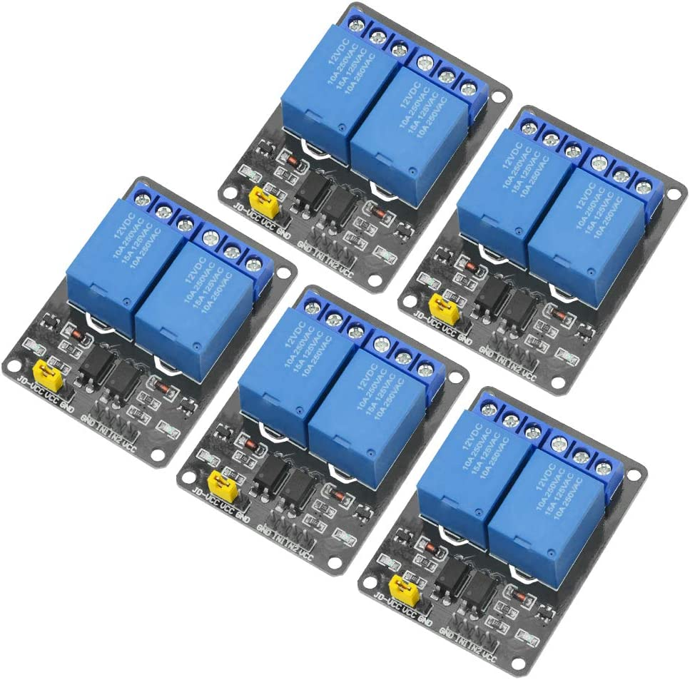 WMYCONGCONG 5 PCS 12V 2 Optocoupler Raleigh Elegant Mall Expansi Module Channel Relay