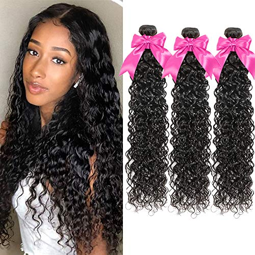 Brazilian Water Wave Bundles (20 22 24 Inch) 10A Virgin Wet and Wavy Human Hair 3 Bundles 100% Unprocessed Remy Curly Bundles Hair Weave
