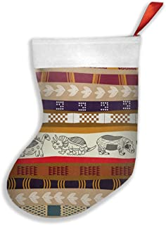 Sd978wawa Tribal with The Image of Dinosaur Christmas Stocking Candy Bag Santa Claus Christmas Day Gift Bag Cute Holiday Decoration Ornament Decorate Your Home for Party Office Xmas Tree