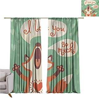 Andrea Sam Navy Blue Curtains Lifestyle,I Love You So Much Fox Humor Romance Birthday Valentines Celebration Print,Mint Green Ginger W84 x L84 inch,Rod Pocket Adjustable