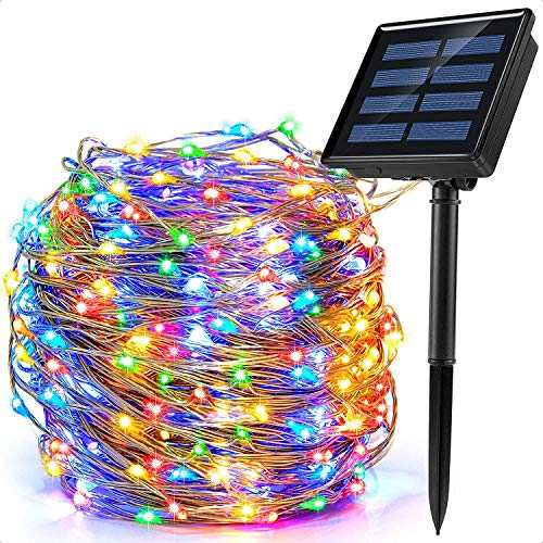 Outdoor String Lights Solar Powered Copper String Lights Indoor LED Brighten Cafe, AMEVRGTHS 32 Feet/10M,Suitable for Christmas New Year Party Wedding Bedroom Wall Decoration,Colored.