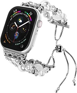 TILON Compatible for Apple Watch Band Replacement 38mm/40mm 42mm/44mm Series 5 4 3 2 1, Handmade Artificial Pearl Elastic Beaded iWatch Bracelet for Women Girls [Updated Style]