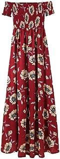 女性用ビーチドレス 女性の夏のビーチマキシドレス肩花自由奔放に生きるサンドレスストラップレス半袖帝国ウエストスリットドレスカジュアルクラブウェア サマードレス (色 : ワインレッド, サイズ : M)