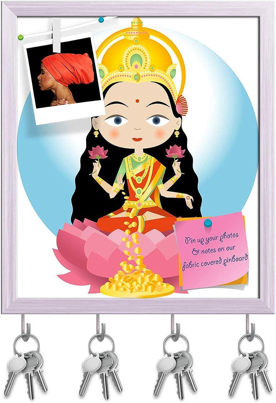 Artzfolio Hindu God Lakshmi Key Holder Hooks   Notice Pin Board   White Frame 16 X 18.4Inch