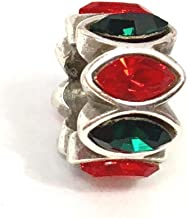 Brighton Navette Spacer Red Green Bead, J95132, Silver Finish