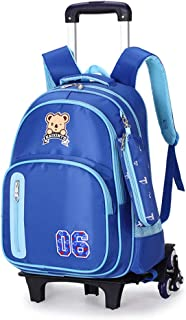 Portable Children's Schoolbag Nylon Trolley Backpack with Wheels Wear-Resistant Decompression And Easy Care