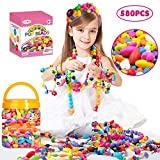 Oumoda Pop Beads Girls Toys 600 PCS DIY Jewelry Making Kit- Kids Snap Beads Jewelry DIY Set Making Necklace, Bracelet, Ring, Hairband and Earrings- Art Craft Kits for 4, 5, 6, 7, 8, 9 Years Old Girls