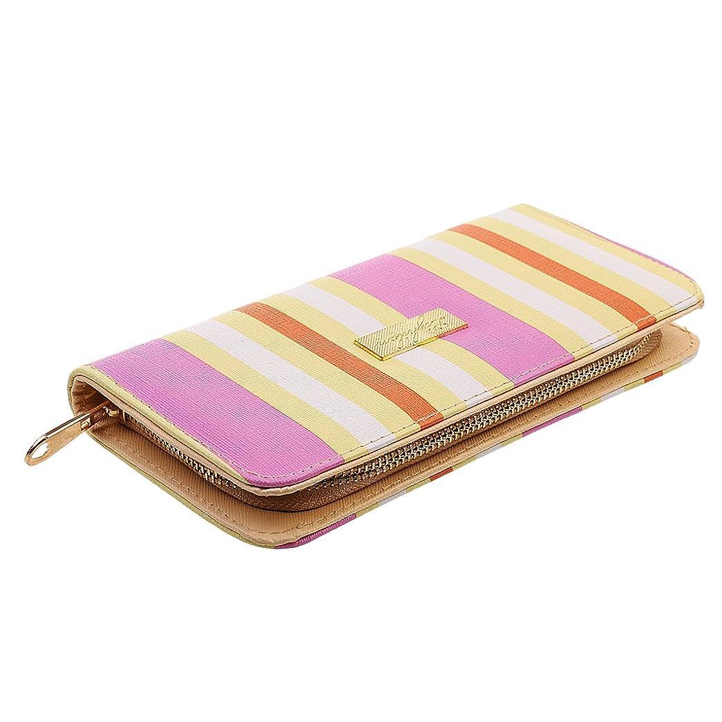 入札ペンフレンド地上の英国スタイル ストライプ柄 レディース カードスロット付き レザー 財布 ジップ 長財布 カードホルダー 全5色