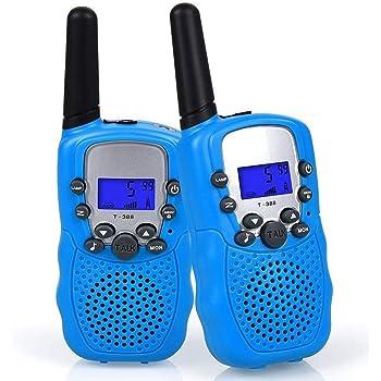 WANFEI 2 x Talkie Walkie Enfants, Radio à 2 Voies avec 8 Canaux Écran LCD Lampe de Poche VOX 10 Tonalités d'Appel Verrouillage des Canaux Cadeau Talky Walky Jouet pour Enfant (Batterie Non Incluse)