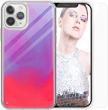 SANLEAD Phone Case for iPhone,Luminous Glow in The Darkness Quicksand Noctilucent for iPhone 6 Plus/6s Plus/7 Plus/8 Plus Wireless Charging TPU Protect Case with Screen Protector(Pink & Purple)