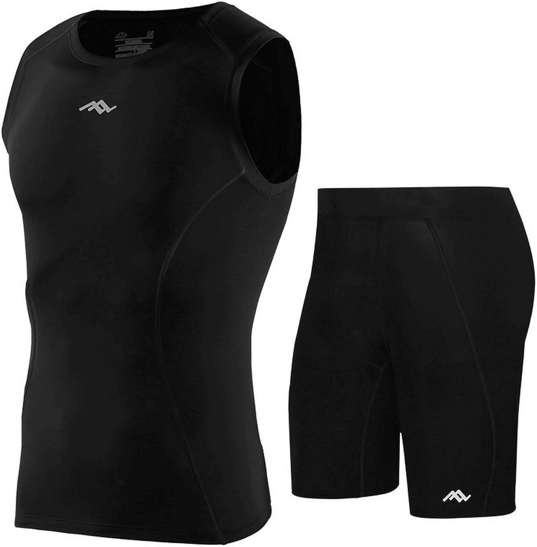 Jomago Men Training Base Layer Sleeveless Compression Tank Top Tight Shorts Set 2 Piece