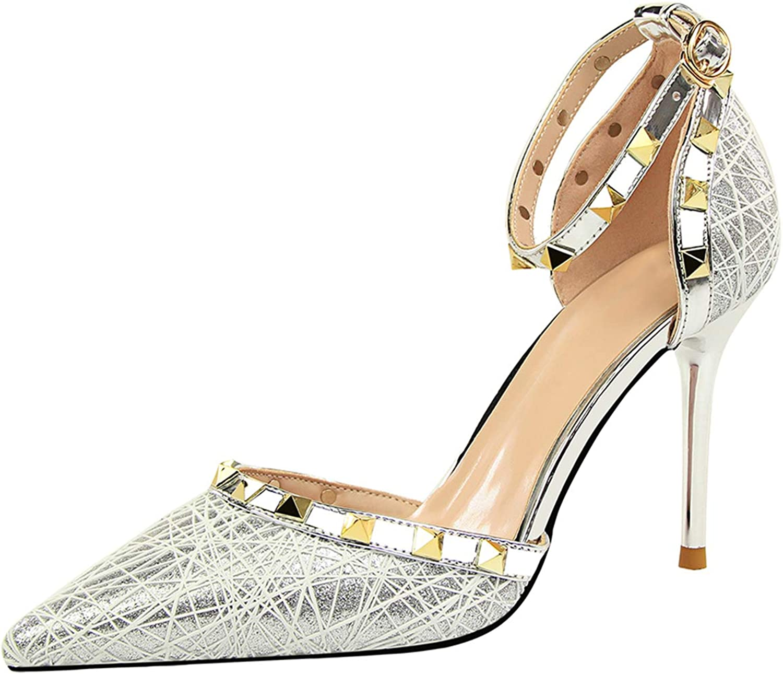 Frauen Schuhe Stiletto Spitze zehe knchelriemen Sandalen Ausschnitt niet Party Prom Mode Damen Schuhe