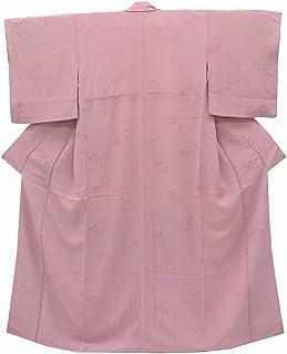 色無地 中古 リサイクル 正絹 縫い紋 縮緬 渋ピンク 抽象文様 裄63.5cm ピンク系 裄Mサイズ 身丈Mサイズ jj2860b