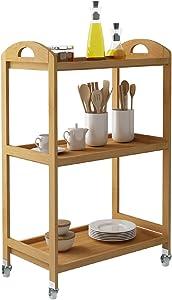 sogesfurniture 3-Tier Storage Shelf Unit On Wheels, Bamboo Kitchen Serving Storage Trolley, Bamboo Storage Utility Cart, Bathroom Rack, BHUS-KS-ZC06