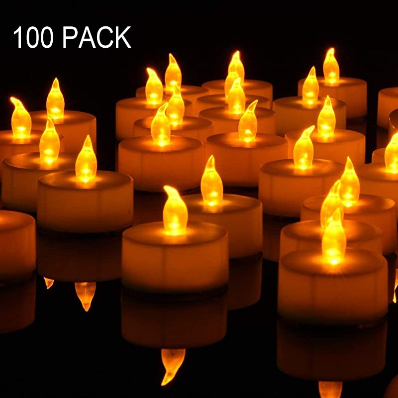 Tea Lights 100PACK Flameless LED Tea Lights Candles Flickering Warm Yellow 100 Hours Battery Powered Tea Light Ideal Party Wedding Birthday Gifts Home Decoration
