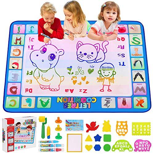 CGBOOM Tapis Dessin Enfant, Tapis Doodle Matte 100*80cm, Tableau de peinture sans gâchis avec 4 stylos à eau et livre de dessin coloré, cadeaux de jouets éducatifs pour garçons filles de 3 ans et plus