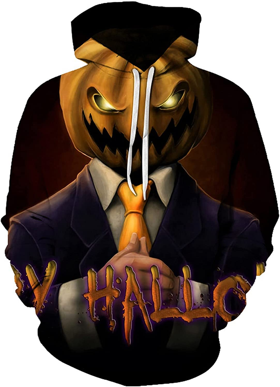 XXBR Halloween Hoodies for Mens, 3D Funny Pumpkin Jack-o-Lantern Bat Print Hooded Sweatshirts Casual Novelty Pullover