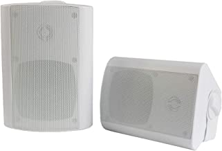 Herdio 4 Inches Outdoor Bluetooth Speakers Waterproof Patio Deck Wall Mount Speakers (White)