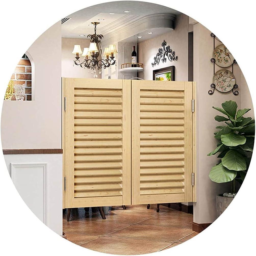 Puertas de Interior Louvered Swinging Cafe Puertas, bisagras de la puerta del salón de madera maciza incluidas Auto Cerrar la puerta de vaquero para la entrada de la entrada de la cocina interior Deco