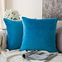 In House Bondi Blue Velvet Decorative Solid Filled Cushion, 30 * 30 centimeter