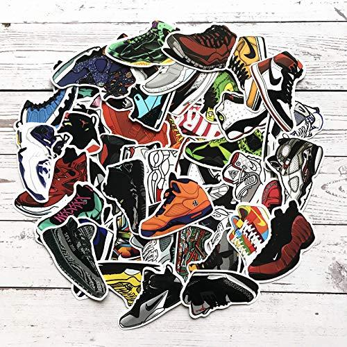 HENJIA 100Pcs Cartoon Aj Shoes Stickers Mixed Cool Jordan Sneaker Stickers for Bike Luggage Box Notebook Graffiti Waterproof Stickers