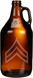 Sponsored Ad - US Army - Army Corporal E-4 Rank Insignia Shoulder Sleeve Patch Etched Glass Beer Growler 64 oz