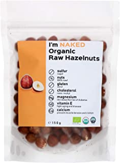 Naked Organic Raw Hazelnuts, 150g