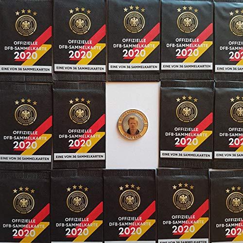 Rewe EM 2020 DFB - Sammelkarten - 100 Päckchen - Tüten - Karten - OVP + Eine Fußballmünze von 2006 - Oliver Kahn in Gold - RARITÄT