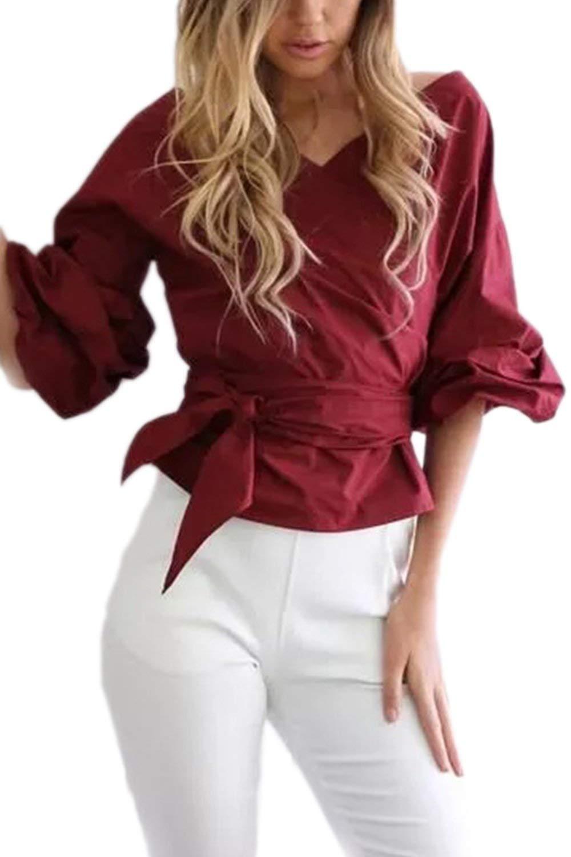 Yisaesa Camisa de Verano Shouder Deep V para Mujer, Elegante Blusa con cinturón (Color : Vino Rojo, tamaño : UK L/CN L): Amazon.es: Hogar