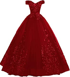 EileenDor Women's Quinceanera Dresses Lace Appliques Off Shoulder Ball Gown Sweet 16 Dresses with Pearl