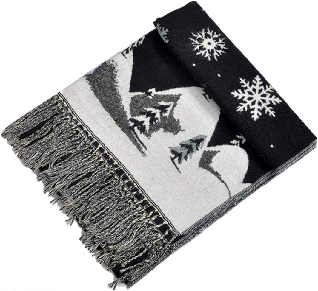 1pc Merry Christmas Long Scarf Women Man Pringted Elk Tree Xmas Winter Scarves with Tassel Thicken Headwrap