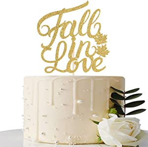 Gold Glitter Fall in Love Cake Topper - Fall Themed Wedding/Wedding Anniversary/Bridal Shower Party Decorations