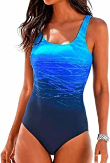 3ee918f79aeab Snowfoller Womens Swimming Costume Geometric Lines Printed Padded Gradient  Color Swimsuit Monokini Push Up One-