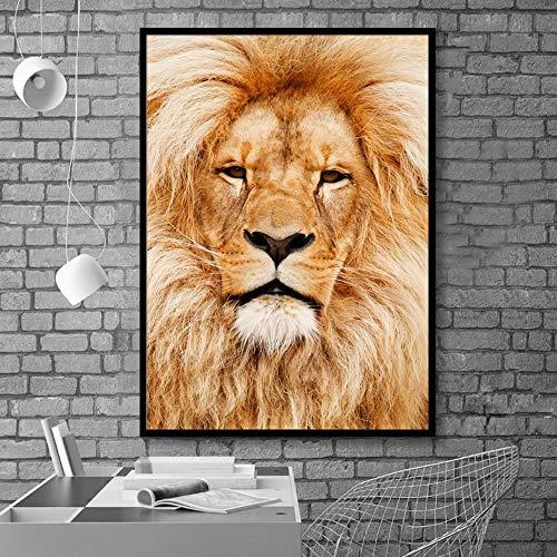 Pintura sin Marco Elegante Blanco y Negro león Tigre Elefante Jirafa Lobo Caballo Arte de la Pared posterZGQ6883 70X100cm
