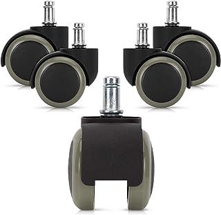 kwmobile Navaris Ruedas para Silla de Oficina de 10MM - Set de 5 Ruedas de 50MM de diámetro - Ruedas de Repuesto giratorias de Goma Anti rayaduras - Gris