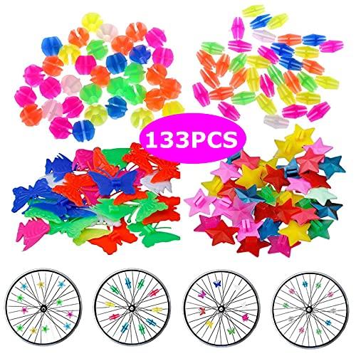 YSTJKD Fahrradspeichen Dekorationen 133 Stück Fahrrad Kunststoff Clip Rad Fahrrad Speichenperlen Fahrrad Speichenclips Für Fahrrad Roller Speichen Dekoration Sterne Kreise Fische Schmetterlinge Farb