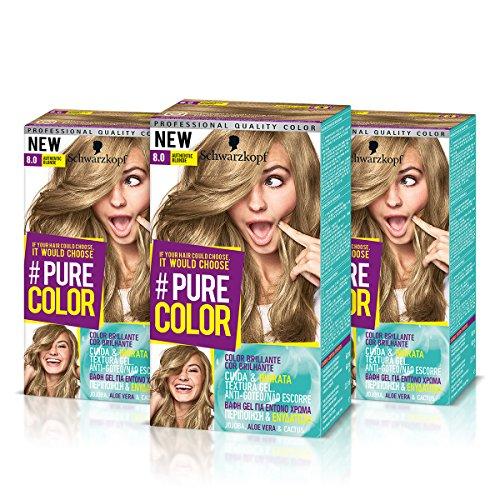 "Schwarzkopf Pure Color dauerhafte Gel-Haarfarbe, Nr. 8.0 ""Authentic Blonde"", 3 Packungen"