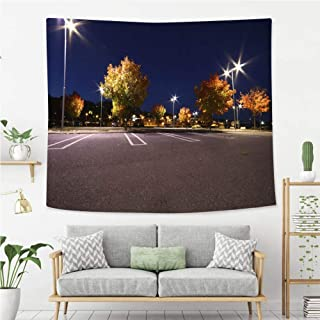 Josephine Joe Colorful Art Design Tapestry Parking lot in Autumn at The Harbour of Sundsvall Wall Art Decoration for Bedroom Living Room Dorm, Window Curtain Picnic Mat,80X60in