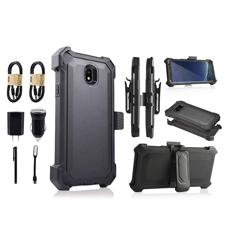 for Samsung Galaxy J7 2018 / J7 Refine / J7V 2nd Gen / J7 Star / J7 Top Case, w/Built-in [Screen Protector] Heavy Duty Full-Body Armor Case Belt Clip Holster Kickstand [Value Bundle][ (Black)