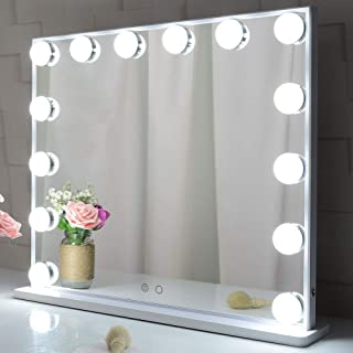 Large Hollywood Makeup Mirror, Hollywood Mirror Lighted Vanity Cosmetic Mirror with Lights, 14pcs Led Bulbs Tabletop or Wa...