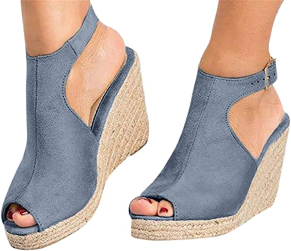 高跟凉鞋女鞋高跟厚底脚踝扣带复古露趾凉鞋由 Gyouanime