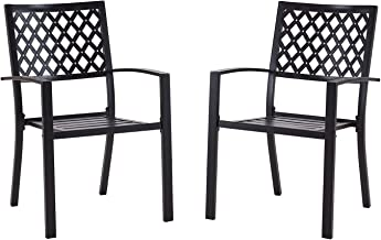 Vicllax Outdoor Metal Bistro Patio Stackable Dining Chairs Set of 2, Black