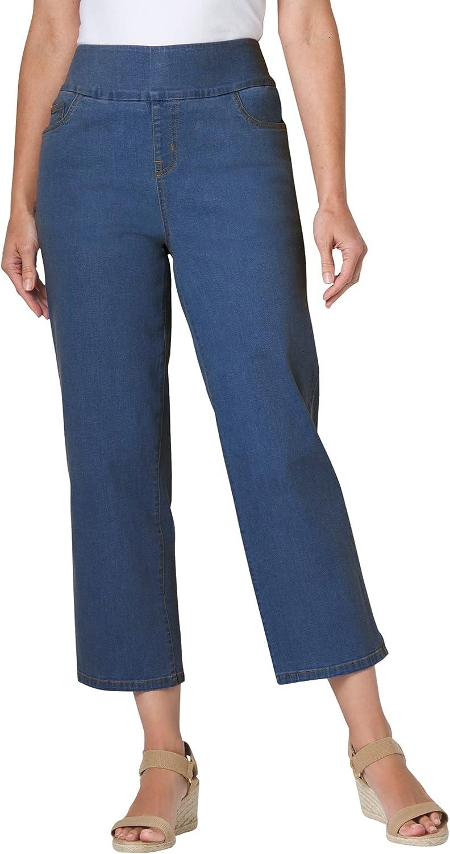 Woman Within Women's Plus Size Pull-On Denim Capri Pants