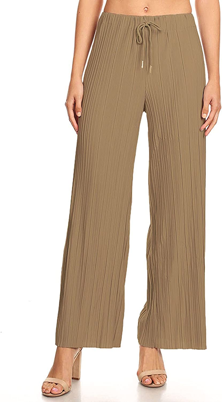FashionJOA Women's Casual High Waist Drawstring Pleated Wide Leg Pants