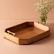 """Nestroots Mango Wooden Serving Tray with Golden Decorative Brass Handles   Home, Cafes, Restaurant, Hotel Use   15 X 12"""""""