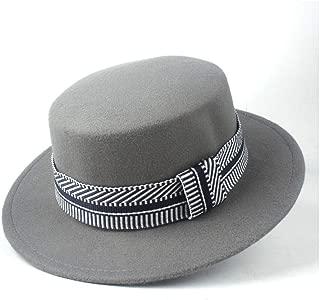 2019 Mens Womens Hats Unisex Men Women Flat Top Pop Church Soft Autumn Winter Flat Top Hat Winter Wide Brim Hat Friend Party Hat Wool Trilby Fedora Hat (Color : Gray, Size : 56-58)