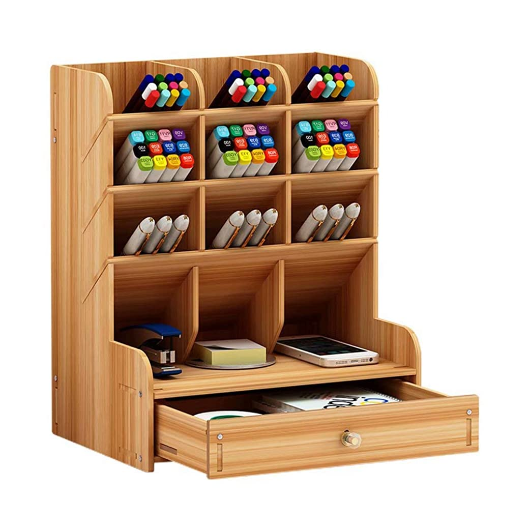 会議エールかける卓上収納ケース 筆立て オフィス収納 デスク上置棚 木製 事務用 デスク整理整頓 収納棚 卓上収納ラック 小物入れ 書類整理 机上用品 文具 収納 引き出し付き 多機能