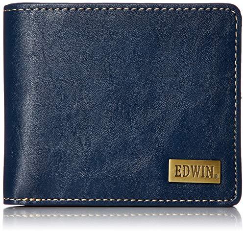 [エドウィン] 二つ折り財布 ホワイトステッチ 合皮 紙幣収納 小銭収納 カードポケット ネイビー