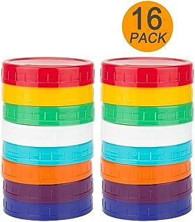 16 Pack Colored Plastic Mason Jar Lids for Regular Mouth Ball Mason Jars by WISH