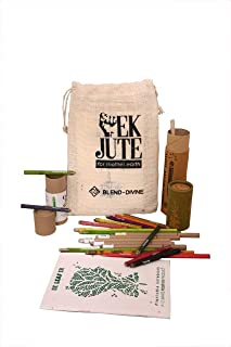 Blend-Divine, Eco-Friendly Combo Pack of Plantable 5 Pens + 5 Pencils + 10 Color Pencils + 1 Notebook + 1 Jute Bag + 1 Free Non-Plantable Pencil